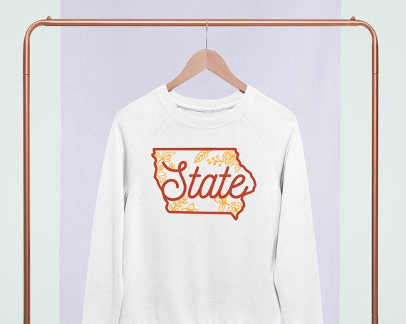 Iowa Sweatshirt, Floral Sweatshirt, Shirt for State fan, State Tailgating Tee, Gift for Football Fan, Iowa Farm Strong, Country Strong
