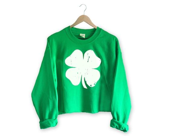 St. Patricks Day Crop Sweatshirt Women   Crop Clover Sweatshirt   Shamrock Sweatshirt   Irish Sweatshirt Women   Crop Sweatshirt   St Paddy