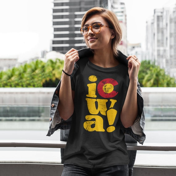 Iowa Girl in a Colorado World Shirt   Colorado Iowa Shirt   Iowa to Colorado   Colorado to Iowa