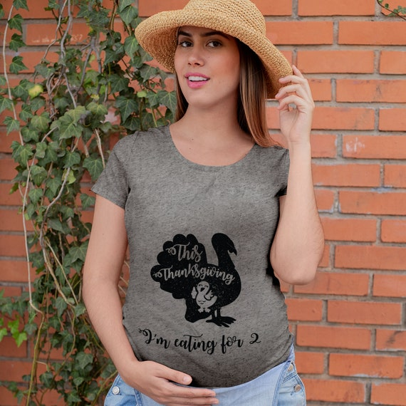Eating for Two Thanksgiving Maternity Tee   Mama Thanksgiving Day Shirt   Baby Announcement T-shirt   Pregnancy Reveal Tee   Fall Mom Shirt