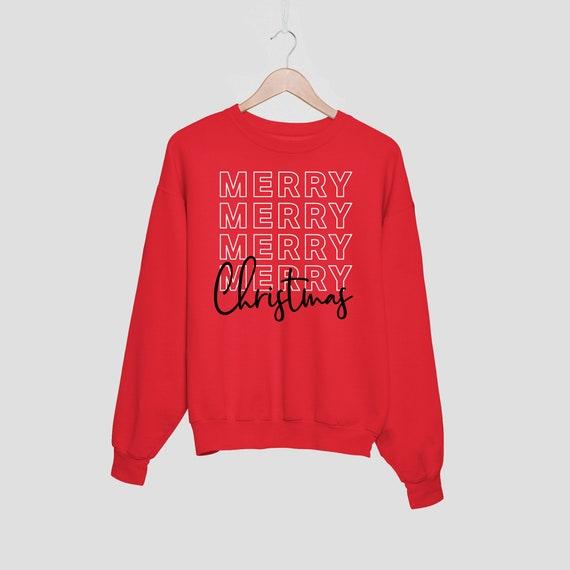 Merry Sweatshirt, Merry Christmas Sweatshirt, Christmas Sweater, Holiday Sweatshirt, Santa Claus Sweater, Merry and Bright Sweatshirt, HO HO