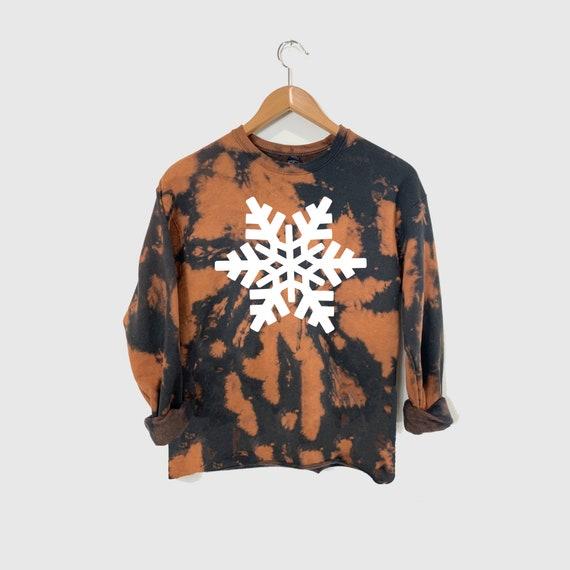 Snowflake Sweatshirt, Bleach Dye Christmas Sweatshirt, Christmas Sweater, Cute Winter Sweatshirt, Holiday Sweater, Family Christmas