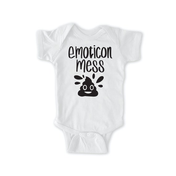Emotican Mess Baby Bodysuit Emoji Baby Funny Poo Emoji Baby Clothes Baby Singlet Gift for New Mom Gift for New Dad Sleepy Baby Bodysuit