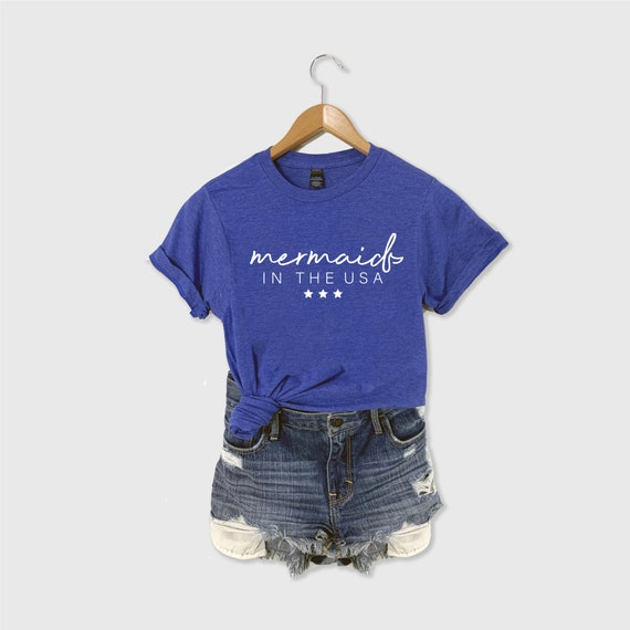 Mermaid Shirt, Mermaid in the USA Shirt, Graphic Tee, Mermaid Tee, Mermaid Squad, Mermaid Graphic T-shirt, Mermaid Mama, Mermaid Girl Shirt