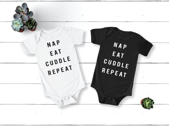 Nap Eat Cuddle Repeat | Baby Bodysuit | Baby Shower Gift | Cute Baby Clothes | Milk Drunk | Cuddle Baby Shirt | Funny Baby Clothing | Mama