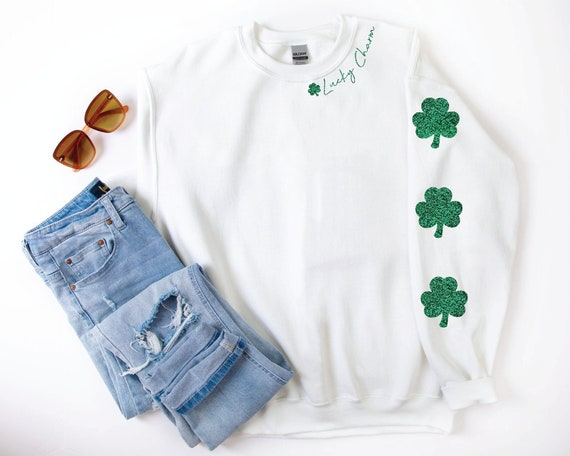 Lucky Charm Sweatshirt, St Patricks Day Glitter Sweatshirt, Shamrock Sweatshirt, Oversized Lucky Sweatshirt, Saint Patricks Day Shirt