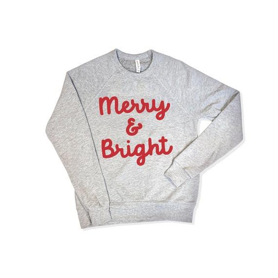 Merry and Bright Sweatshirt   Christmas Sweatshirt   Ski Sweater   Holiday Sweater   Winter Sweatshirt   Merry Fleece Sweatshirt   Xmas