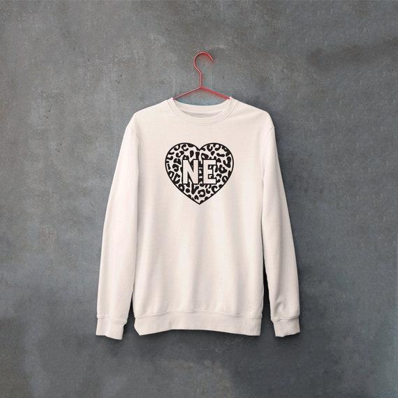 Nebraska Leopard Print Sweatshirt, Midwest is Best Leopard, College Football Sweatshirts, Nebraska Crewneck, Game Day, Corn Fed Sweatshirt