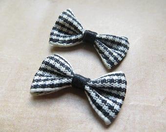 4 bow ties black gingham fabric