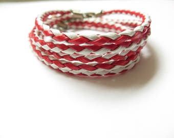 5 supports red white braided leather bracelet
