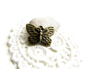 10 charms Butterfly bronze 25x18mm