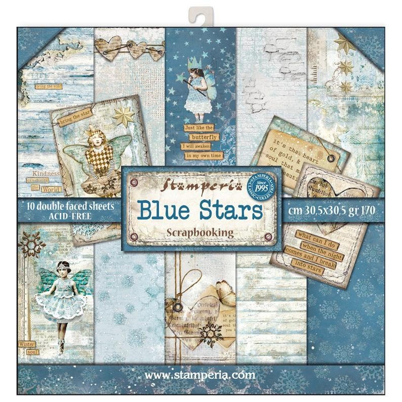 10 Sheets Stamperia Blue Stars 12x12 Scrapbook Ppaper Double Sided Paper Pad
