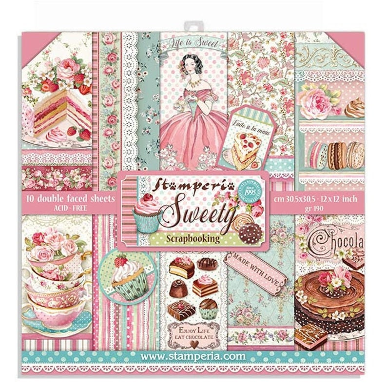 NEW Stamperia Sweety 12x12 Paper Pad Paper Kit Paper image 0