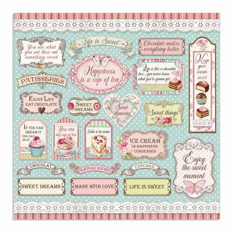 NEW Stamperia Sweety 12x12 Paper Pad Paper Kit Paper image 5