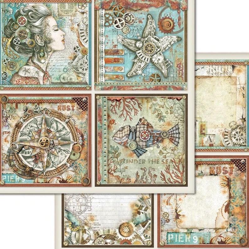 "NEW Stamperia Sea World 12 x 12 /"" Paper Pad Mechanical Seaworld"