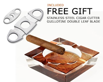 Tobacco Leaf Print Crystal Cigar Ashtray For 4 Cigars Custom Gift Box Free Stainless Steel Cigar Cutter