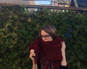 Scarf, Wool scarf, Crochet, Crochet Sjaal,  Warm, Sjaal, Dark Red Scarf, Winter