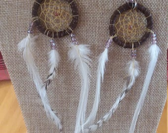 White Feathered Dream Catcher Earrings.