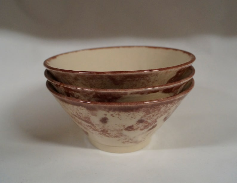 Ceramic Bowl  Red and White Pottery  Small Salad Bowl