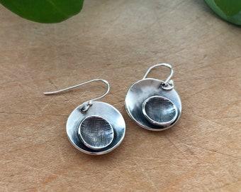 Sterling silver drop hook circle earrings