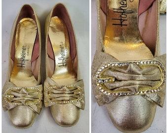 1960s pumps vintage 60s gold Hofheimer's princess heels 6.5B