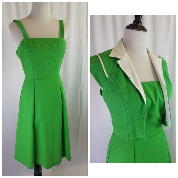 1970s vintage 70s green dress and bolero jacket Ac