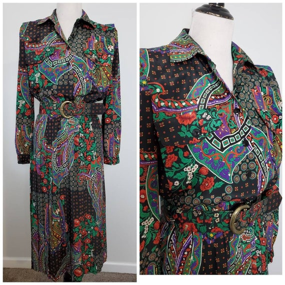 1980s holiday vintage 80s Leslie Fay paisley dress