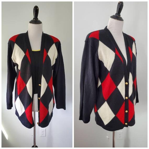 1980s sweater vintage 80s harlequin argyle Cymbrio