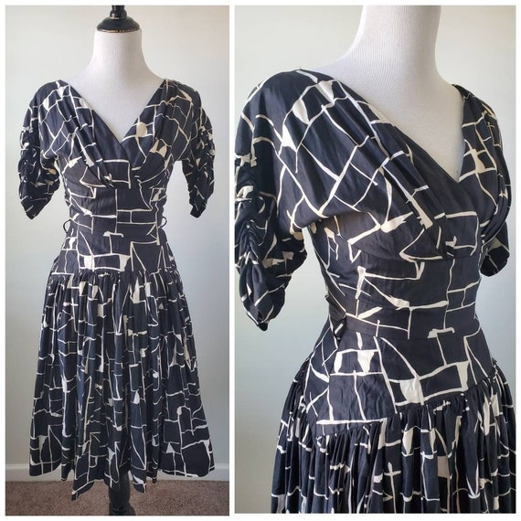 1950s dress vintage 50s drop waist Gigi Young orig