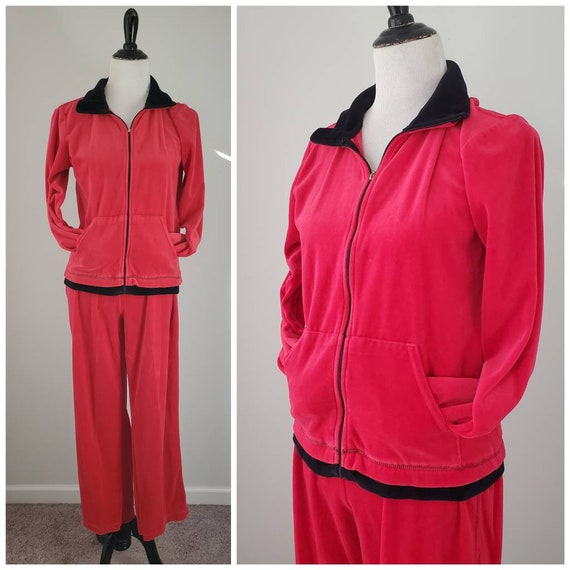 1990s red velour tracksuit vintage 90s Cappagallo