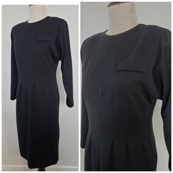 1980s Leslie Fay vintage 80s little black dress