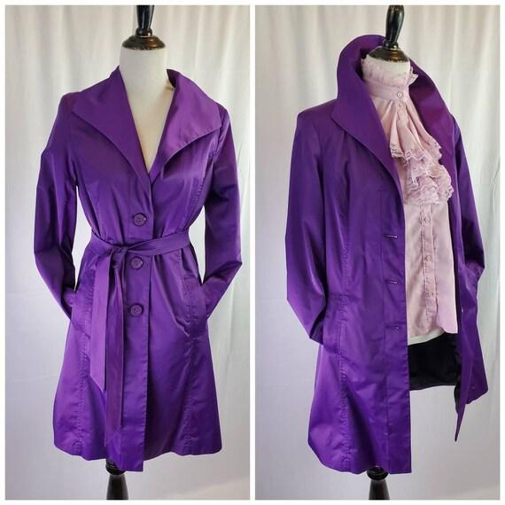 1980s Mossimo trench coat vintage purple jacket