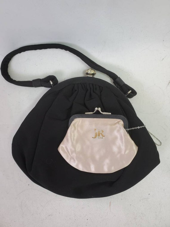 Vintage J R Black Cloth Rhinestone Pin Evening Purse Handbag