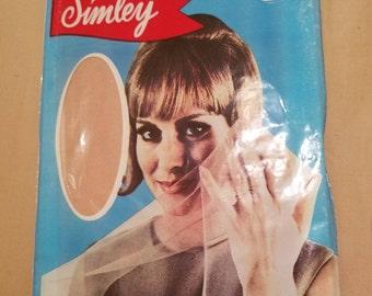 1970s stockings//Simley garter stockings 100% Nylon in rose glow//vintage 70s stockings//size 10