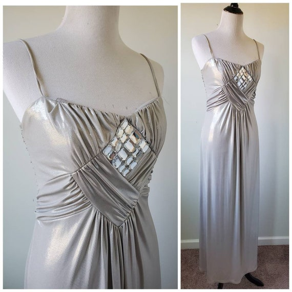 1980s silver gown vintage 80s Jessica McClintock f