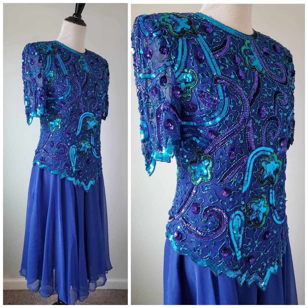 80s Dresses   Casual to Party Dresses 1980S Blue Sequin Beaded Vintage 80S Brilliante Chiffon Dress $0.00 AT vintagedancer.com