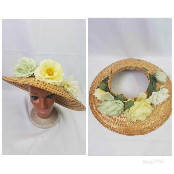 Vintage 80s does 30s wide brimmed straw sun hat vi
