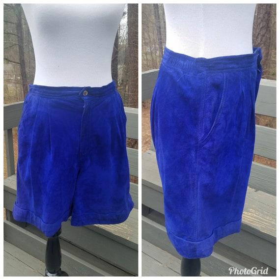 1980s vintage 80s leather Erez Sport Blue bermuda