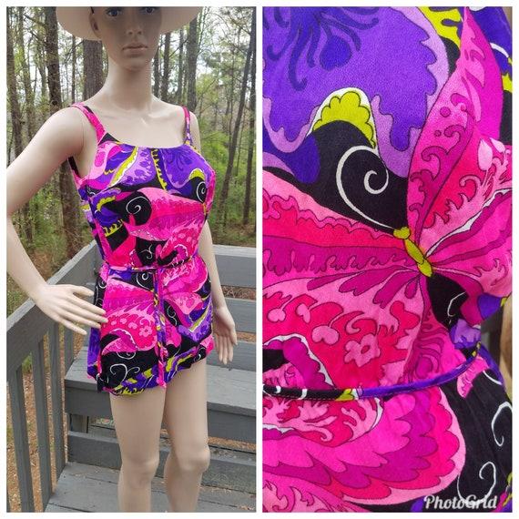38f65e7560bd1 Vintage bathing suit 60s Psychedelic swim suit   Etsy