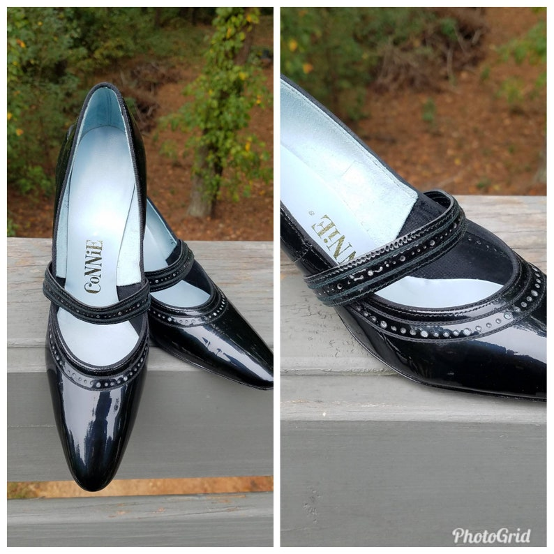 Black Pumps 1960s Shoes Vintage Patent Leather Connie Prom Shoes Witch Shoes New Old Stock With Original Box Size 7aa