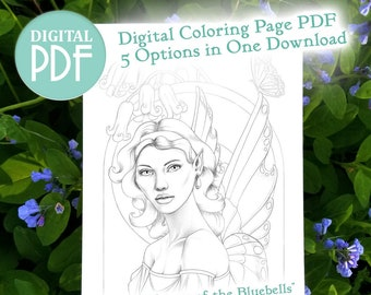 Spring Flower Fairy Coloring Page - Cythia, Keeper of the Bluebells - Faerie Adult Coloring Digital Stamp - Instant Digital Download PDF