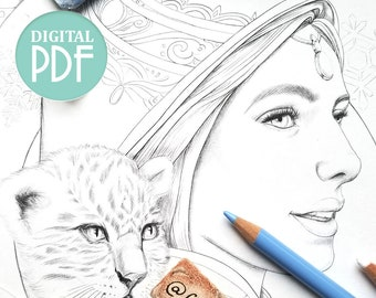 Greyscale Portrait Coloring Page - Spirit of the Himalayas - Beautiful Mountain Spirit with Snow Leopard Portrait - Digital Stamp - PDF