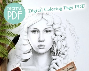 Persephone - Greek Mythology Coloring Page - Greyscale and Lineart Coloring Page Options - Digital Download - PDF Printable - Digital Stamp