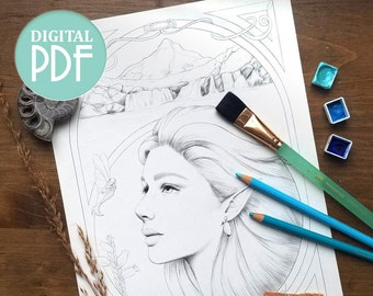 Printable Coloring Page - Spirit of the Fairy Pools - Fantasy Greyscale and Lineart Portrait for Coloring and Digital Stamps