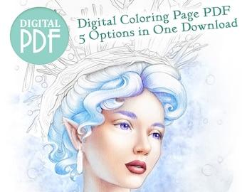 "Coloring Page PDF - ""Icebringer"" - Magical Snow Elf Greyscale and Lineart Fantasy Art PDF Printable Digital Coloring - Digital Stamp"