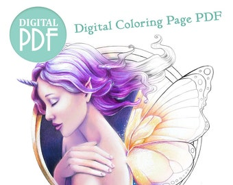 Single Digital Download Adult Coloring Page PDF - Faecorn Growing Pains - Fairy Unicorn Adolescent Portrait - Fantasy Portrait Coloring Page