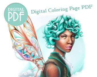 Faery Coloring Page - Steam Pixie - Digital Printable Adult Coloring PDF of a Beautiful Black Steampunk Fairy with Mechanical Wings