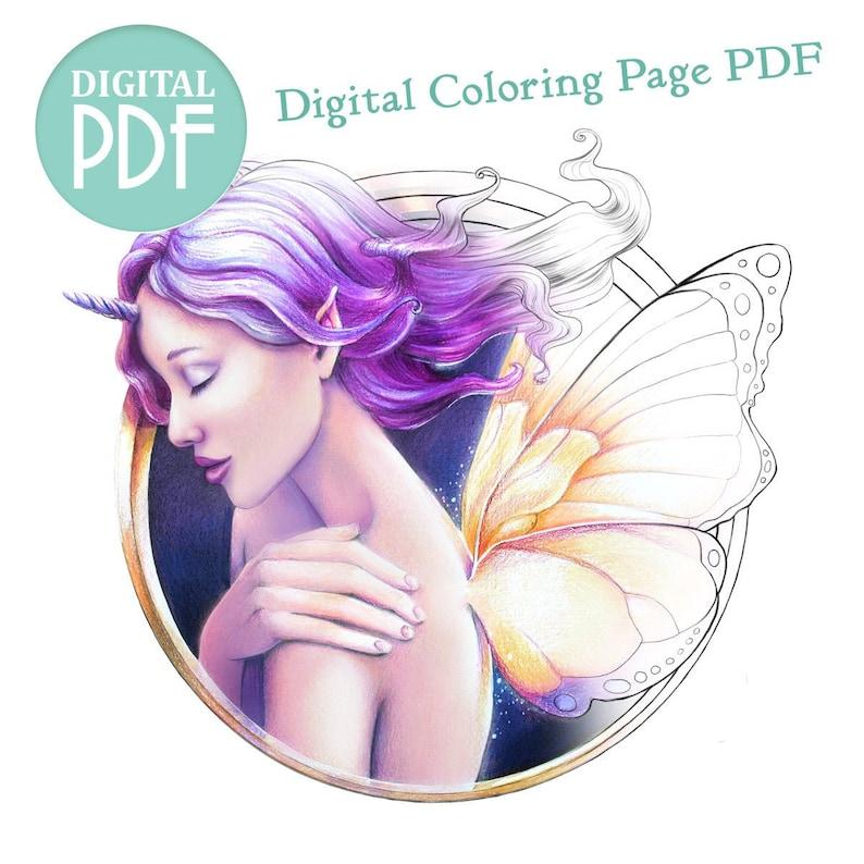 Single Digital Download Adult Coloring Page PDF  Faecorn image 0