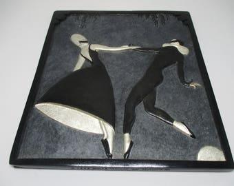 """Erte LE """"Pas de Duex"""" Bronze Bas Relief Sculpture 7.50"""" h x 6.75""""  Signed/ Numbered"""
