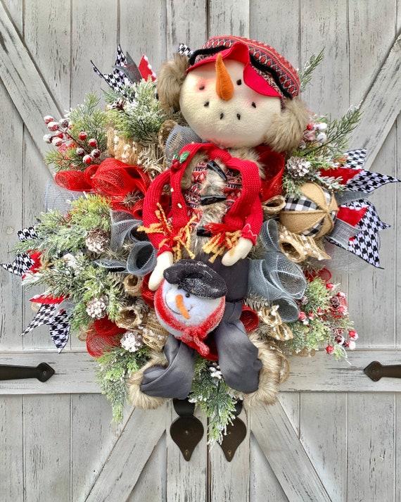 Christmas Wreath Snowman Wreath Winter Decor MTN Wreaths By Brenda Snowman Decor Kids Decor Seasonal Wreath Holiday Decor Front Door Decor
